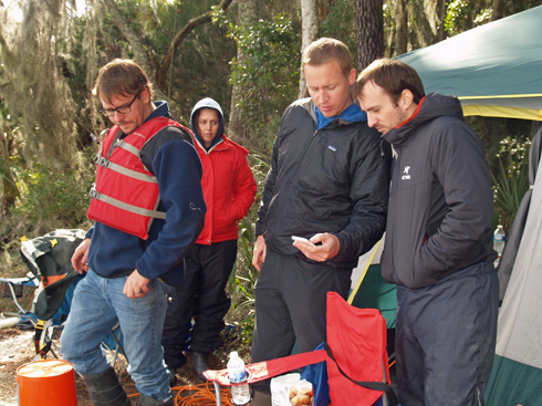 Skidaway Institute's Zac Tait, Thais Bittar, Rob Spencer (FSU) and Aron Stubbins prepare for a sample collection.