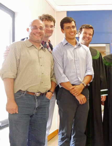 Miguel Leal (2nd from right) after his defense, with (l-r) Marc Frischer (Skidaway Inst.) , Jens Nejstgaard (formerly Skidaway Inst.) and Miguel's primary Portuguese supervisor, Ricardo Caldo