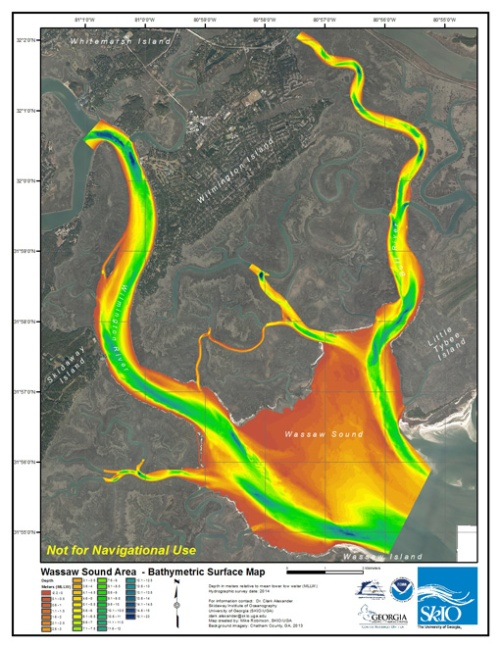 This shows a wide view of the Wassaw Sound survey map. Shallow areas are shown in orange and yellow, deeper areas in green and blue.