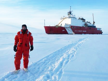 Marsay at the North Pole in front of the U.S. Coast Guard Cutter Healy.