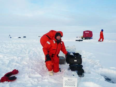 Marsay with his gear at the North Pole.