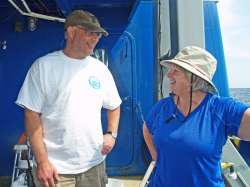 Marc Frischer chats with JoCasta Green during the cruise.