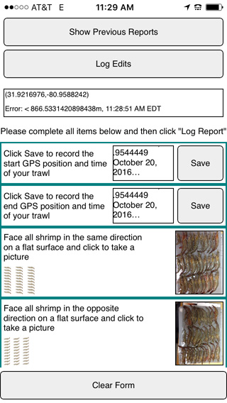 A screenshot of the smartphone app for tracking black gill.