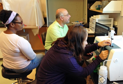UGA Skidaway Institute researchers Tina Walters, Marc Frischer and Karrie Bulski practice running zooplankton samples on the FlowCam, a new instrument that is part of LIME